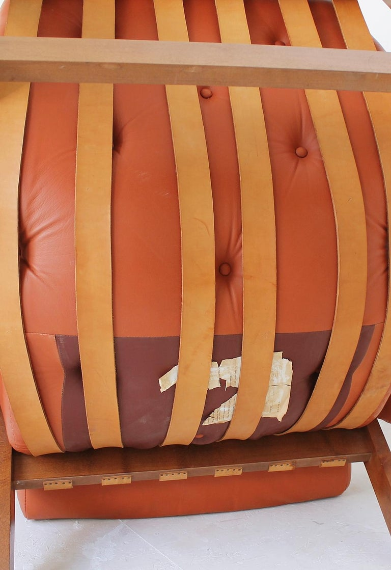 Midcentury Percival Lafer Style Cognac Tufted Leather Armchairs, 1970s For Sale 4
