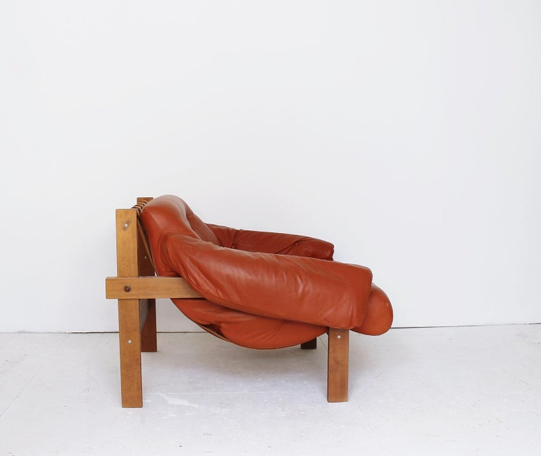 Mid-Century Modern Midcentury Percival Lafer Style Cognac Tufted Leather Armchairs, 1970s For Sale