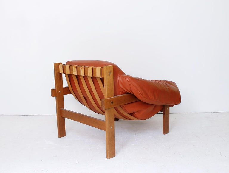 Hungarian Midcentury Percival Lafer Style Cognac Tufted Leather Armchairs, 1970s For Sale