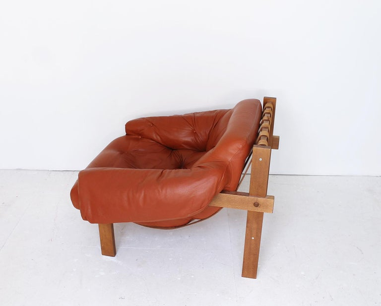 Late 20th Century Midcentury Percival Lafer Style Cognac Tufted Leather Armchairs, 1970s For Sale