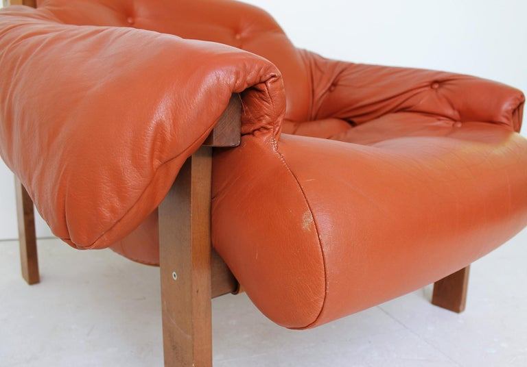 Midcentury Percival Lafer Style Cognac Tufted Leather Armchairs, 1970s For Sale 1
