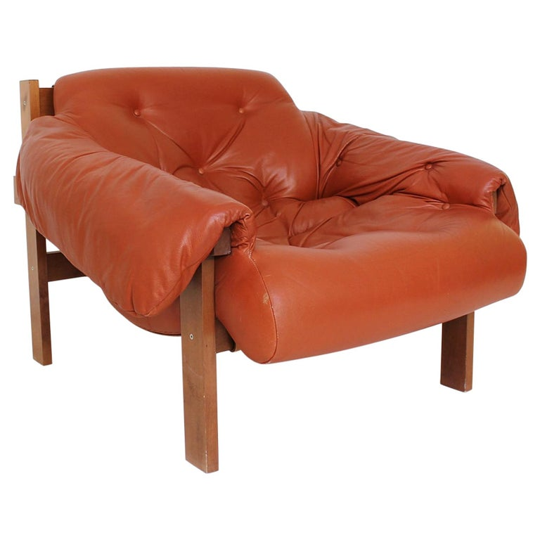 Midcentury Percival Lafer Style Cognac Tufted Leather Armchairs, 1970s For Sale
