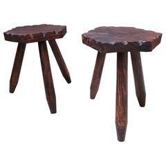 Mid-Century Perriand Style Set of Two Rustic Tripod Stools