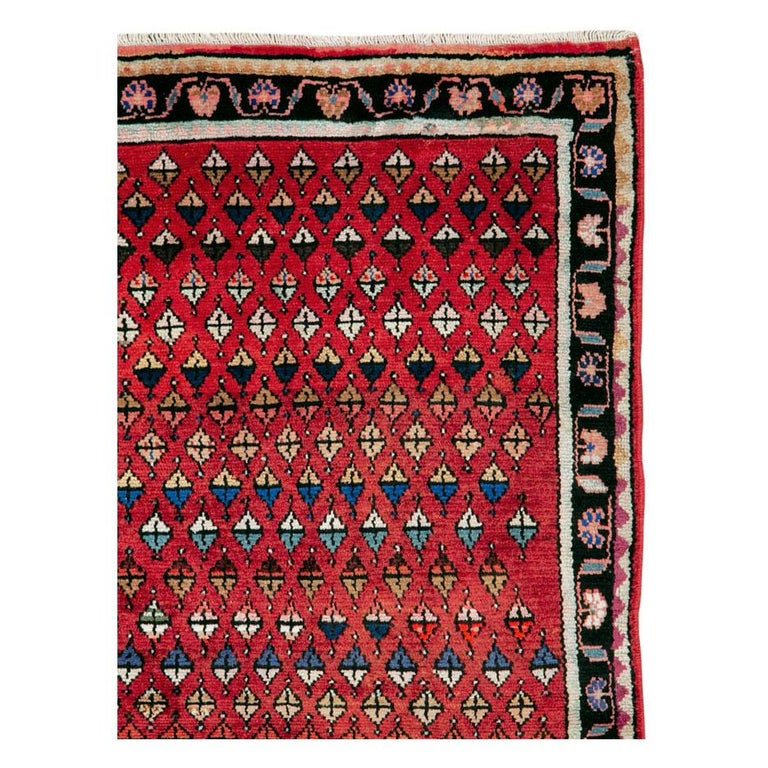Folk Art Midcentury Persian Folk Handmade Throw Rug in Red For Sale