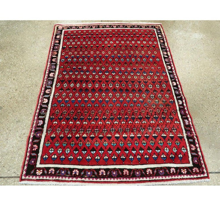 Hand-Knotted Midcentury Persian Folk Handmade Throw Rug in Red For Sale