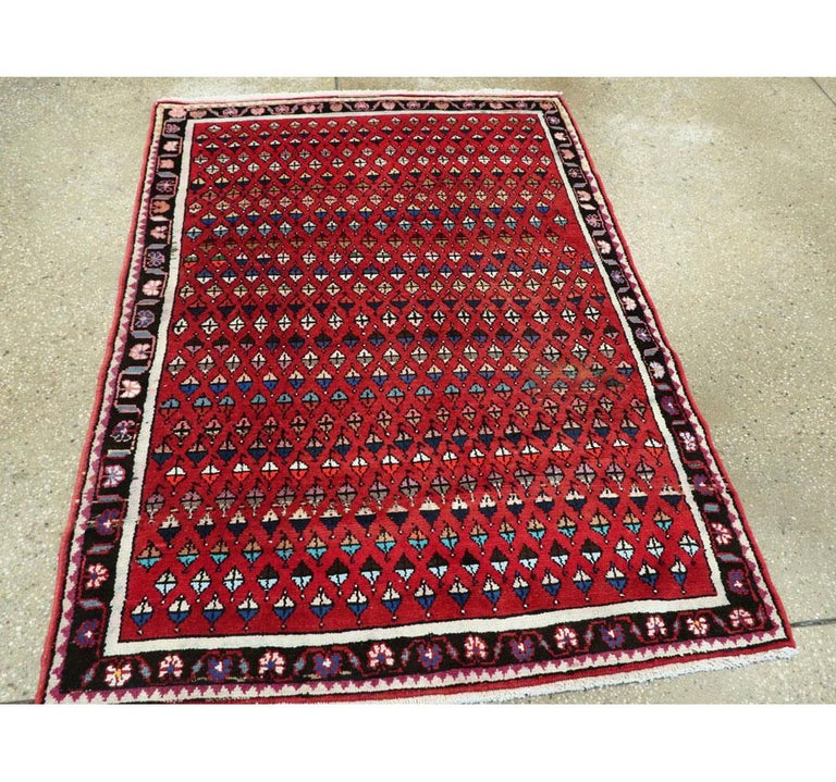 Midcentury Persian Folk Handmade Throw Rug in Red In Excellent Condition For Sale In New York, NY