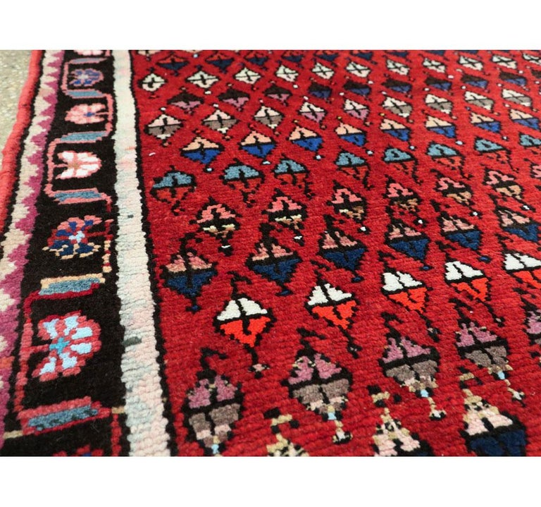 20th Century Midcentury Persian Folk Handmade Throw Rug in Red For Sale