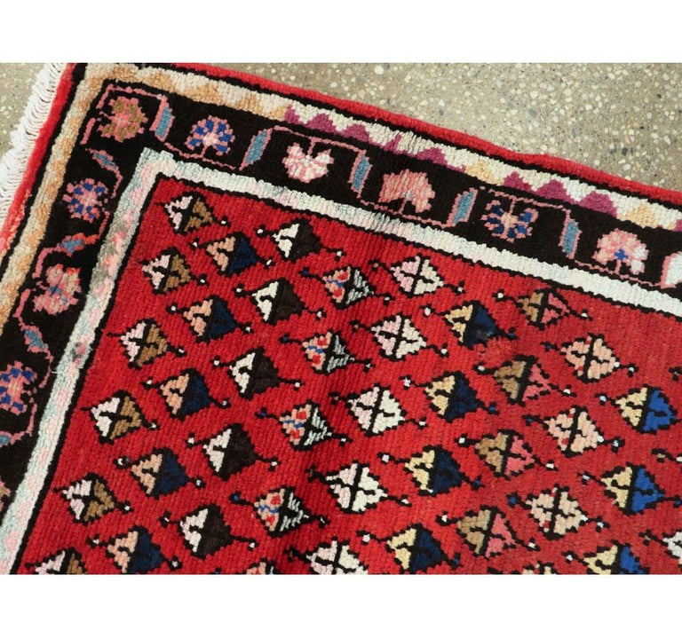 Wool Midcentury Persian Folk Handmade Throw Rug in Red For Sale