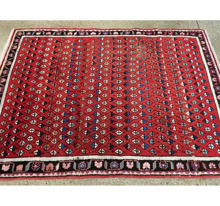 Midcentury Persian Folk Handmade Throw Rug in Red For Sale 1
