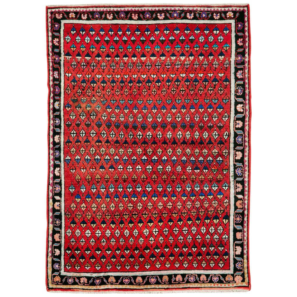 Midcentury Persian Folk Handmade Throw Rug in Red