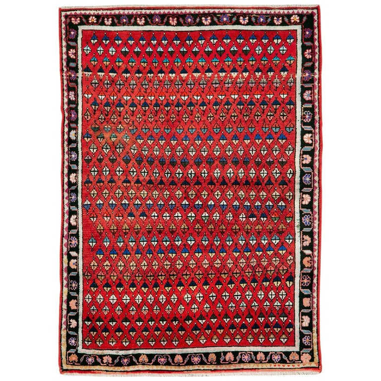 Midcentury Persian Folk Handmade Throw Rug in Red For Sale