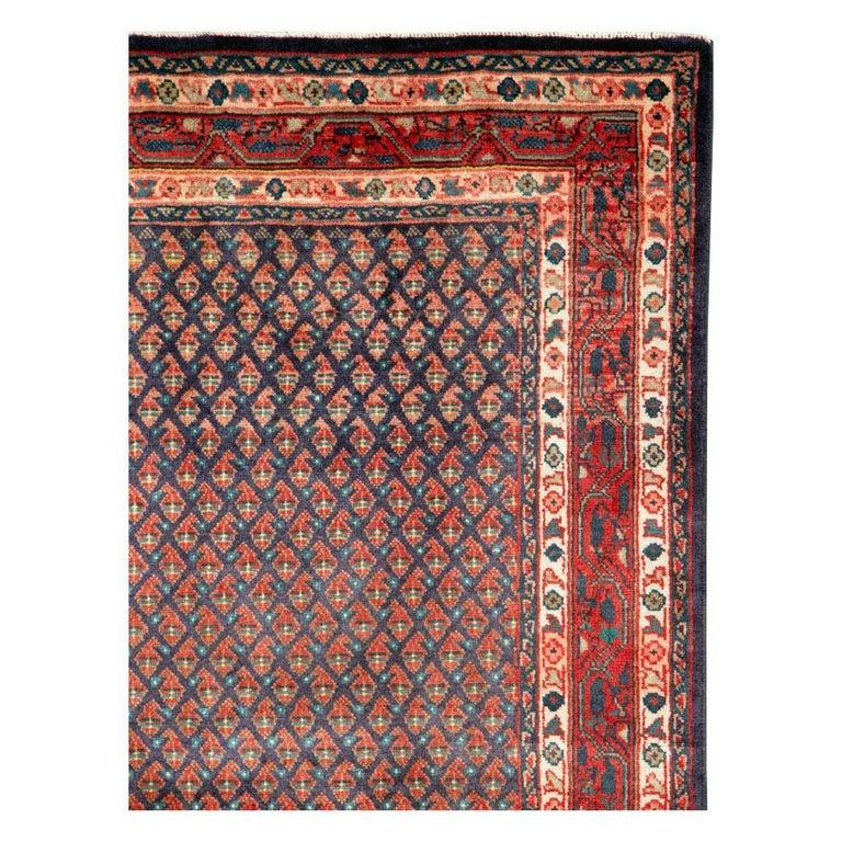 Folk Art Midcentury Persian Folk Handmade Throw Rug in Slate Purple and Rust Red For Sale
