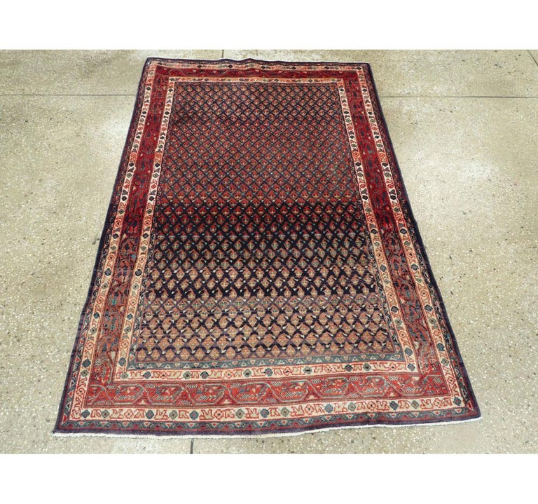 Hand-Knotted Midcentury Persian Folk Handmade Throw Rug in Slate Purple and Rust Red For Sale