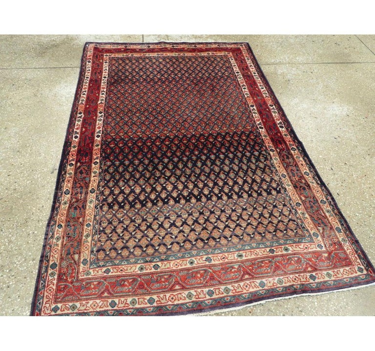 Midcentury Persian Folk Handmade Throw Rug in Slate Purple and Rust Red In Excellent Condition For Sale In New York, NY