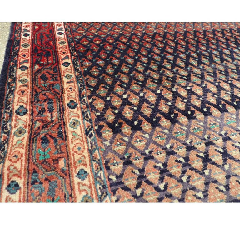 20th Century Midcentury Persian Folk Handmade Throw Rug in Slate Purple and Rust Red For Sale