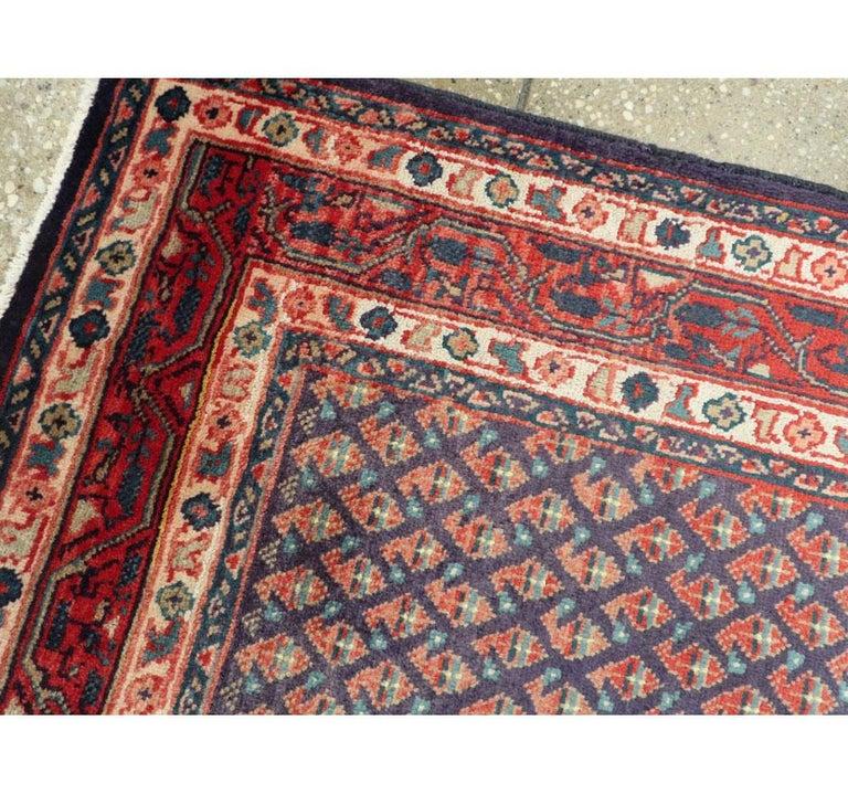 Wool Midcentury Persian Folk Handmade Throw Rug in Slate Purple and Rust Red For Sale
