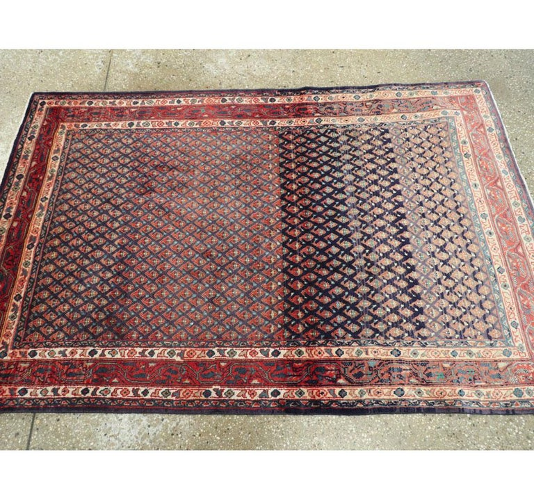 Midcentury Persian Folk Handmade Throw Rug in Slate Purple and Rust Red For Sale 1