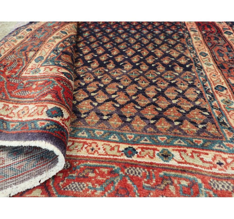 Midcentury Persian Folk Handmade Throw Rug in Slate Purple and Rust Red For Sale 2
