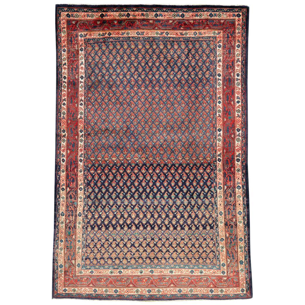 Midcentury Persian Folk Handmade Throw Rug in Slate Purple and Rust Red
