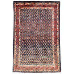Midcentury Persian Folk Handmade Throw Rug in Slate Purple and Rust Red