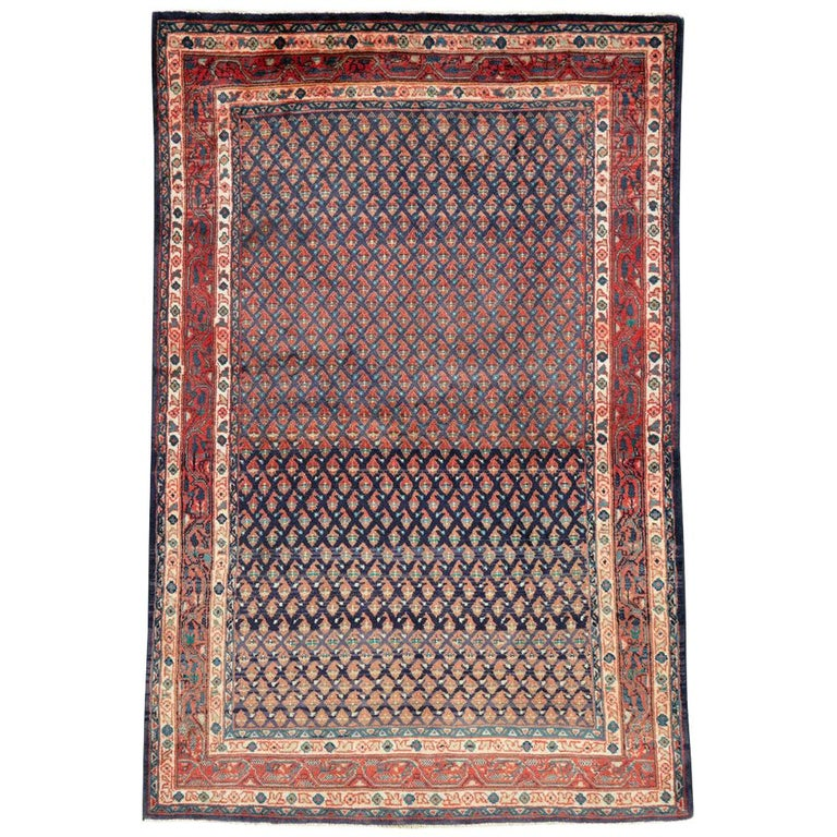 Midcentury Persian Folk Handmade Throw Rug in Slate Purple and Rust Red For Sale