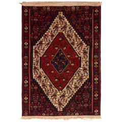 Midcentury Persian Kilim Rug Wool Red Cream Floral Senneh Flat-Weave