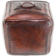 Mid Century Peruvian Leather Pouf