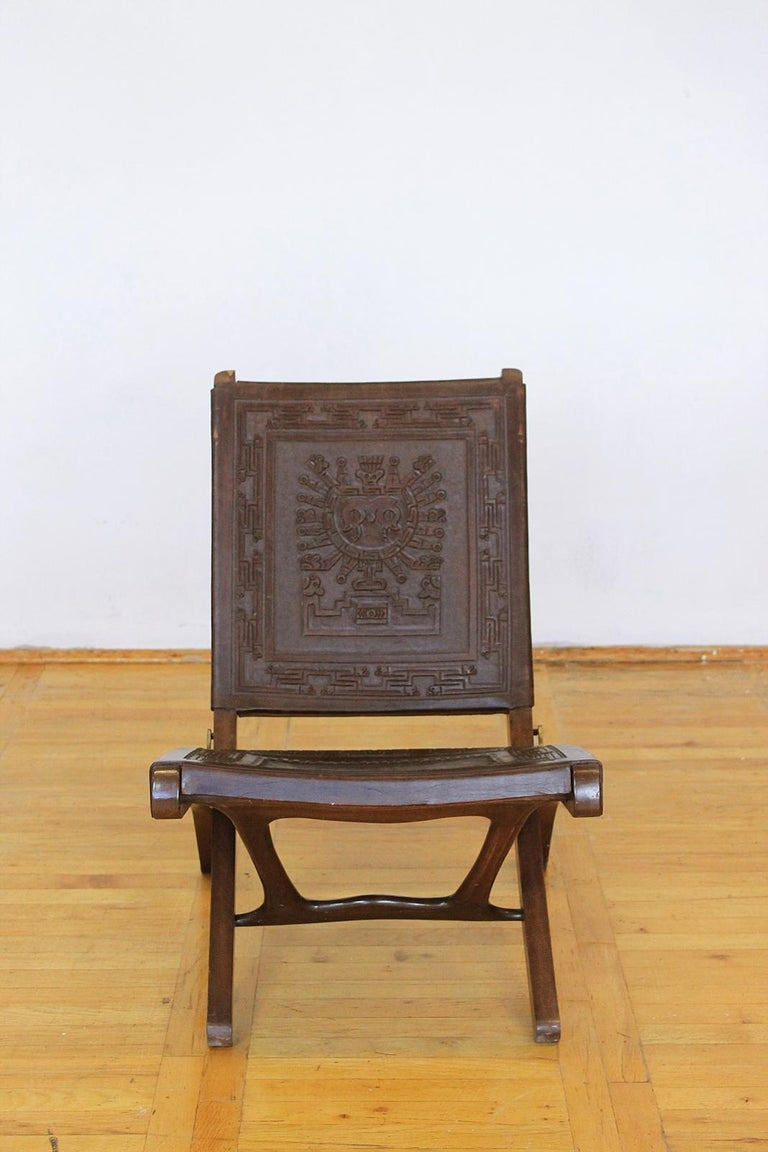 Mid-Century Modern Midcentury Peruvian Tooled Leather Folding Chair, 1970 For Sale