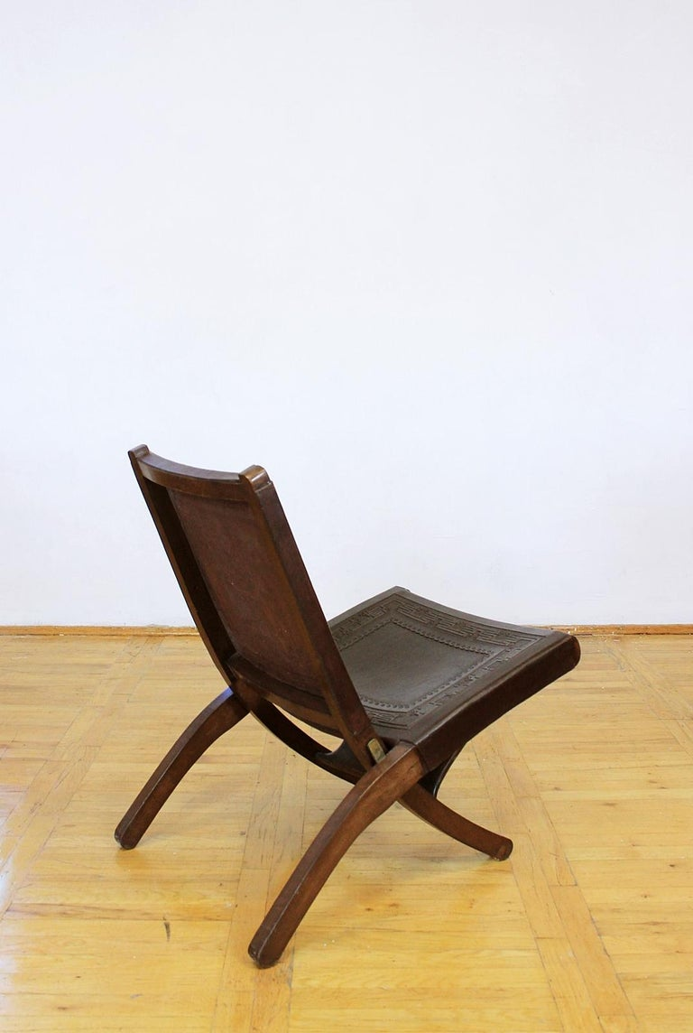 20th Century Midcentury Peruvian Tooled Leather Folding Chair, 1970 For Sale