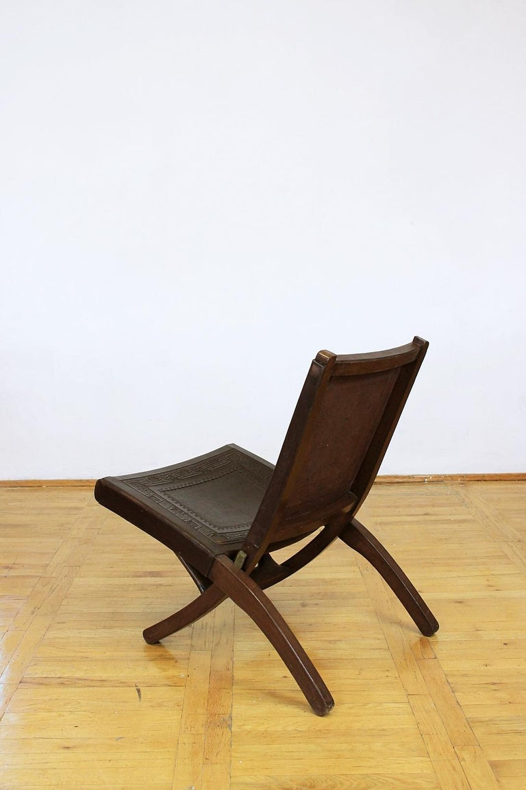 Cowhide Midcentury Peruvian Tooled Leather Folding Chair, 1970 For Sale