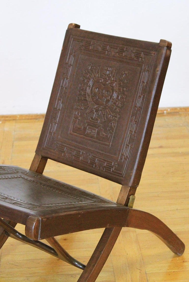 Midcentury Peruvian Tooled Leather Folding Chair, 1970 For Sale 1