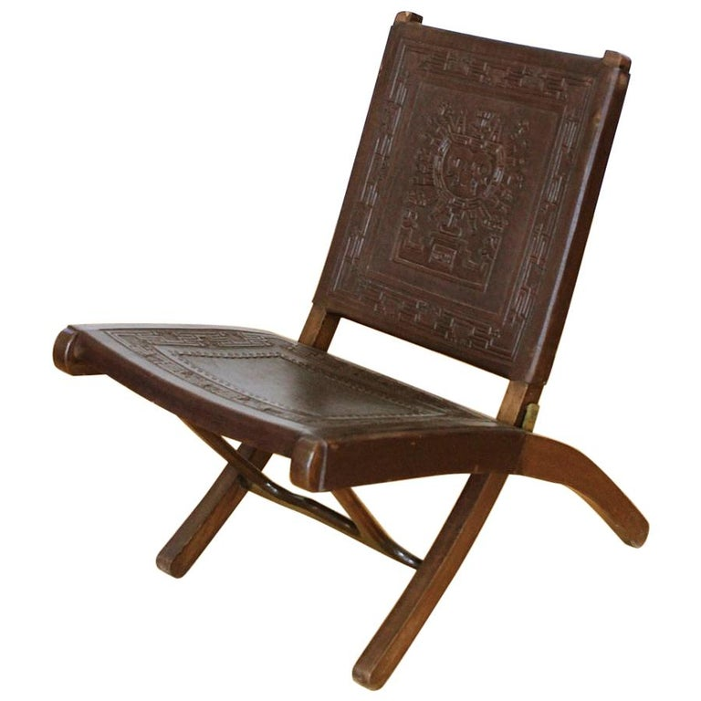 Midcentury Peruvian Tooled Leather Folding Chair, 1970 For Sale