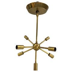 Midcentury Petite Sputnik Brass Chandelier, circa 1960s