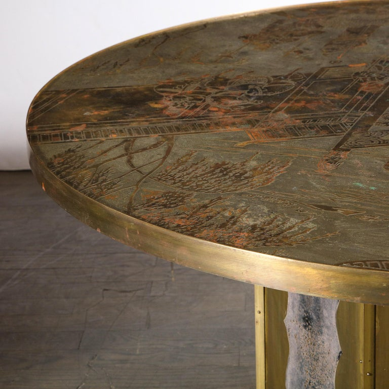 Mid Century Philip & Kelvin LaVerne Acid Etched Bronze/ Pewter Chan Coffee Table For Sale 4