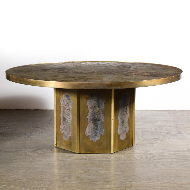 Mid Century Philip & Kelvin LaVerne Acid Etched Bronze/ Pewter Chan Coffee Table For Sale 5