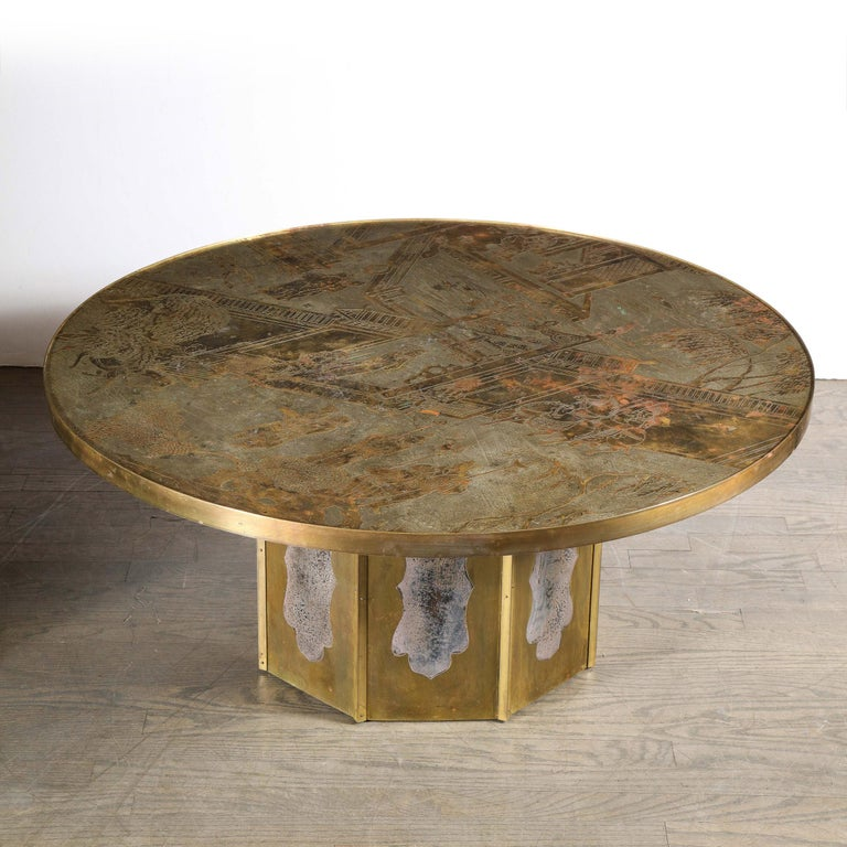 Mid Century Philip & Kelvin LaVerne Acid Etched Bronze/ Pewter Chan Coffee Table For Sale 6
