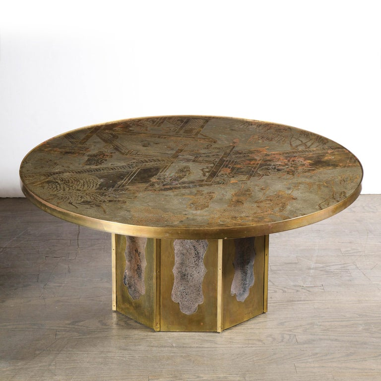 Mid Century Philip & Kelvin LaVerne Acid Etched Bronze/ Pewter Chan Coffee Table For Sale 7