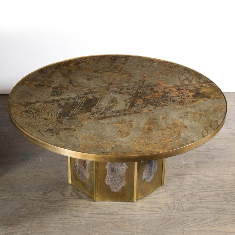 Mid Century Philip & Kelvin LaVerne Acid Etched Bronze/ Pewter Chan Coffee Table For Sale 9