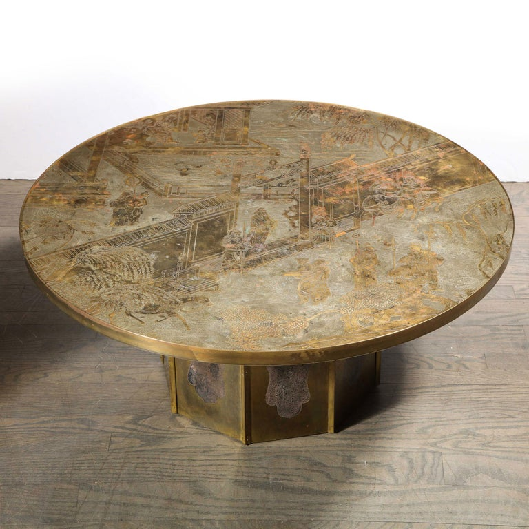 This stunning and iconic cocktail table was realized in the United States by the legendary midcentury designers- the LaVerne brothers, circa 1960. Handcrafted in a combination of polychromed bronze & pewter, this piece, from their celebrated