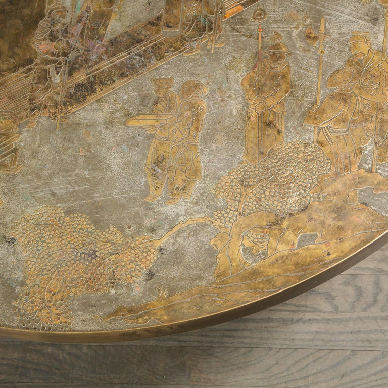 Mid-Century Modern Mid Century Philip & Kelvin LaVerne Acid Etched Bronze/ Pewter Chan Coffee Table For Sale