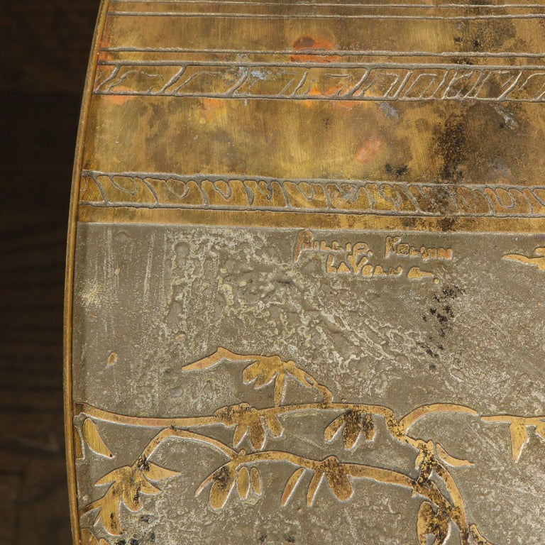 Mid Century Philip & Kelvin LaVerne Acid Etched Bronze/ Pewter Chan Coffee Table For Sale 1