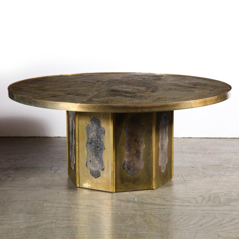 Mid Century Philip & Kelvin LaVerne Acid Etched Bronze/ Pewter Chan Coffee Table For Sale 2