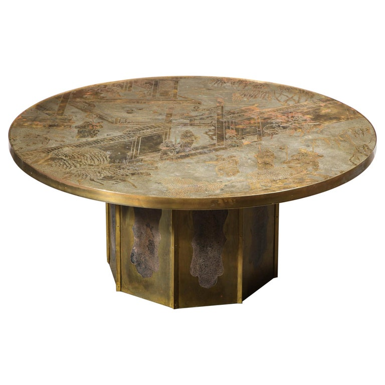Mid Century Philip & Kelvin LaVerne Acid Etched Bronze/ Pewter Chan Coffee Table For Sale