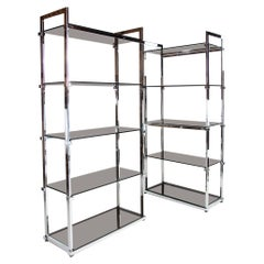 Mid Century Pieff Glass and Chrome Shelving Bookcase Units