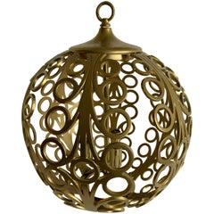 Midcentury Pierced Gold Metal Geometric Pendant Light