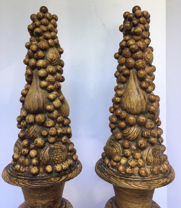 Mid-Century Modern Midcentury Plaster Faux Bois Fruit Topiary Urn Lamp Bases For Sale
