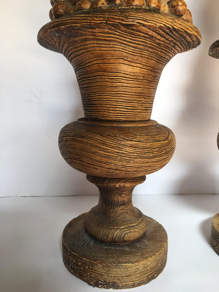 Late 20th Century Midcentury Plaster Faux Bois Fruit Topiary Urn Lamp Bases For Sale