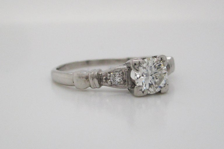 Modernist Midcentury Platinum Diamond Engraved Engagement Ring For Sale
