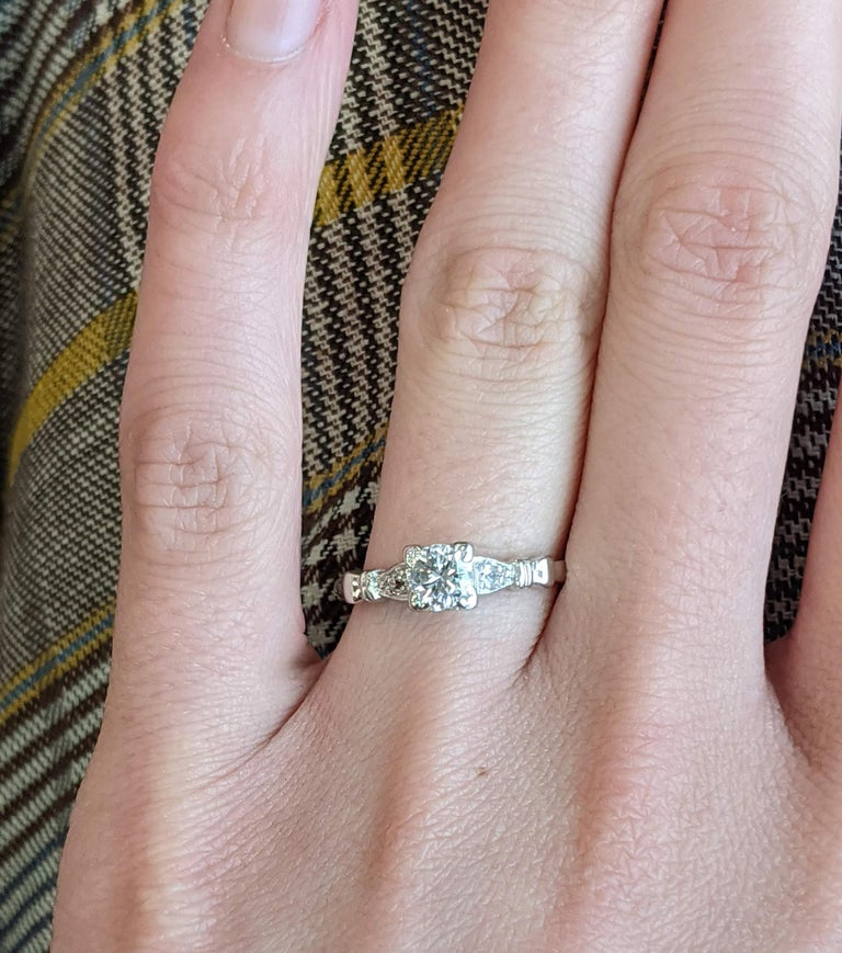 Round Cut Midcentury Platinum Diamond Engraved Engagement Ring For Sale