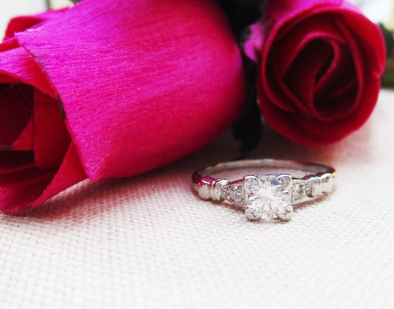 Midcentury Platinum Diamond Engraved Engagement Ring In Excellent Condition For Sale In Lexington, KY